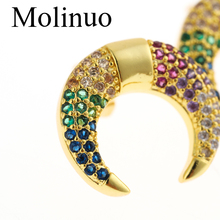 Molino fashion rainbow multicolor cz crescent moon girl studded gold 2019  charm moon earrings for lady woman gift charm moon xy00688