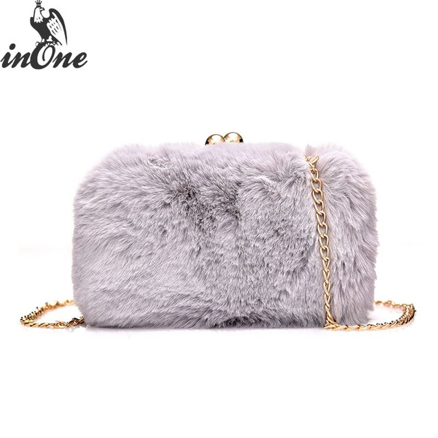 INONE 2018 Ladies Women Messenger Shoulder Hand Bags Fashion Crossbody  Handbag Cute Faux Fur Clutch Evening 7cb0e9a602