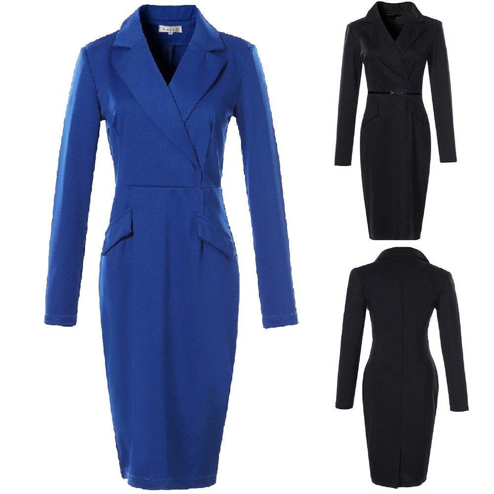 2019 Damen Mode Frauen Langarm Kleid Anzug Kragen Hals Büro Bleistift Kleid Ol Business Kleid Anzug S-4xl Plus Größe Kleid
