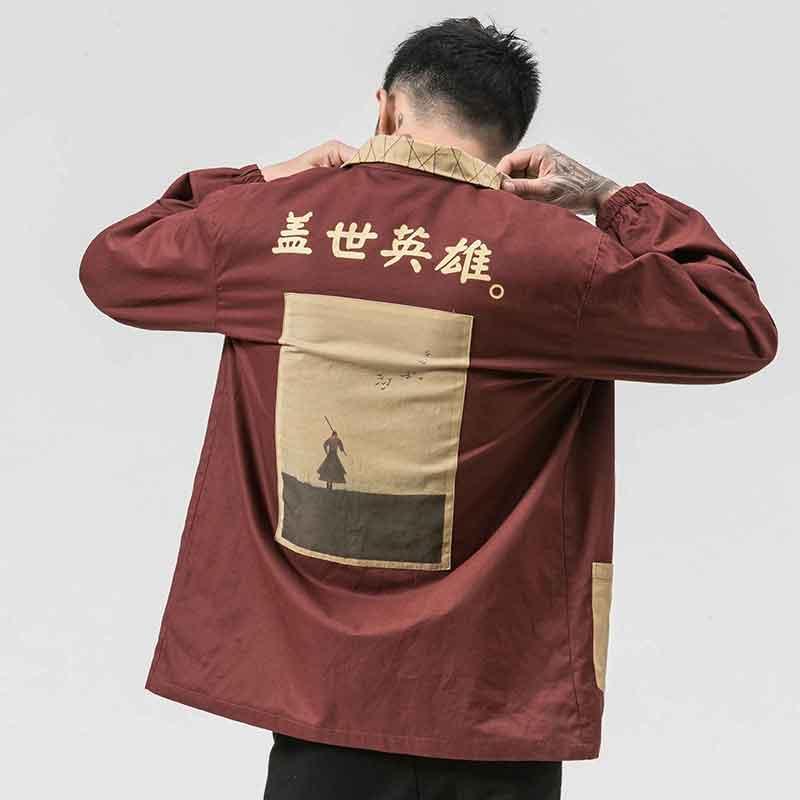MRDONOO Windbreaker men's long section of the print personality shirt autumn loose retro Chinese style men's jacket tide JK15