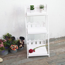 New American country multi-layer folding flower stand solid wood Balcony indoor floor decorative flower stand craft