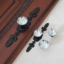 Glass Dresser Knob Pull Crystal Drawer Knobs Pulls Handle Black Clear Rhinestone Kitchen Cabinet Door Back Plate Bling