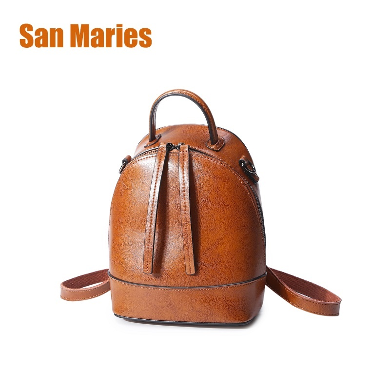 San Maries Women Backpack Oil Wax Cow Split Leather Backpack for Teenage Girls School Backpacks Real Leather Mini Shoulder Bags 33cm women backpack oil wax cow genuine leather backpack for teenage girls school large capacity shoulder bag brown tote mochila