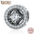 BAMOER Original 925 Sterling Silver Round Shape Clearly CZ AAA Zircon Charms Fit  Bracelets Beads & Jewelry Making PAS382