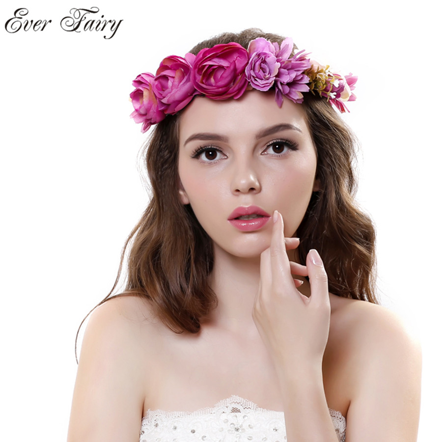 2018 bride wedding flower headband wreath hairband party flower girl ever fairy new women rose flower wreath festival wedding girls party floral garlands crown floral halo izmirmasajfo