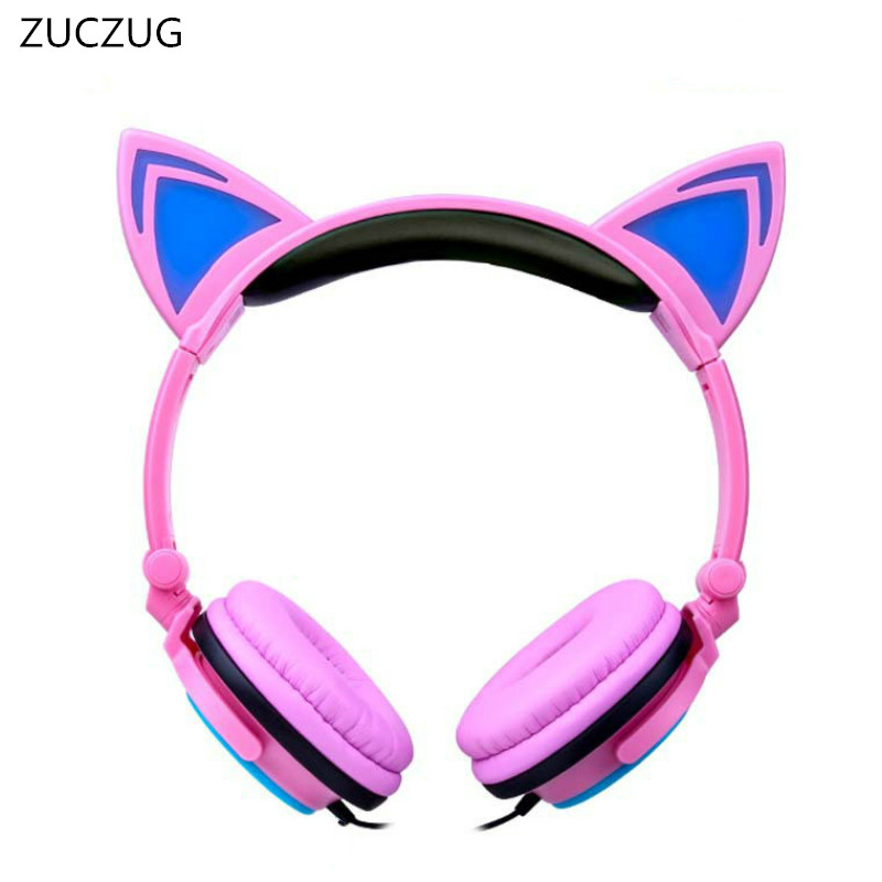 ZUCZUG Foldable Flashing Glowing cat ear headphones Gaming Headset Earphone with LED light For PC Laptop Computer Mobile Phone 2017 teamyo newest flashing glowing led cat ear headphones for kids children headsets for mobile phone pc laptop computer