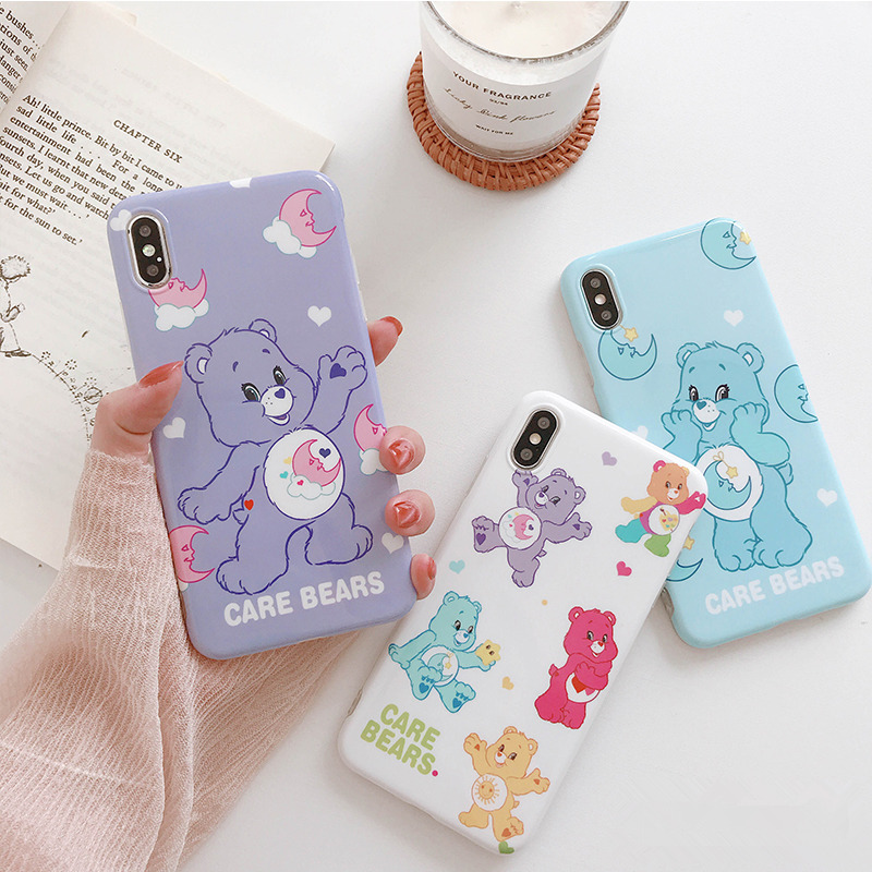 Care Bears Cartoon Silicone Soft Case For Iphone X Case Xs Max Xr Cute Bear Glossy Phone