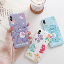 Care bears cartoon silicone soft case for iphone x case xs max xr cute bear glossy phone case 6 for iphone 6s 7 8plus 7plus 8 6(China)
