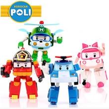 4 unids/set Robocar Corea niños Juguetes Robot Transformación Anime Figuras de Acción Juguetes Para Los Niños