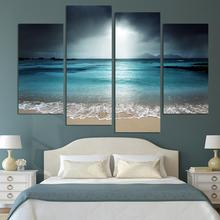 4 Panel Sea Scenery With Beach Modern Wall Art For Wall Decor Home Decoration Picture Paint on Canvas Prints Painting(Unframed)