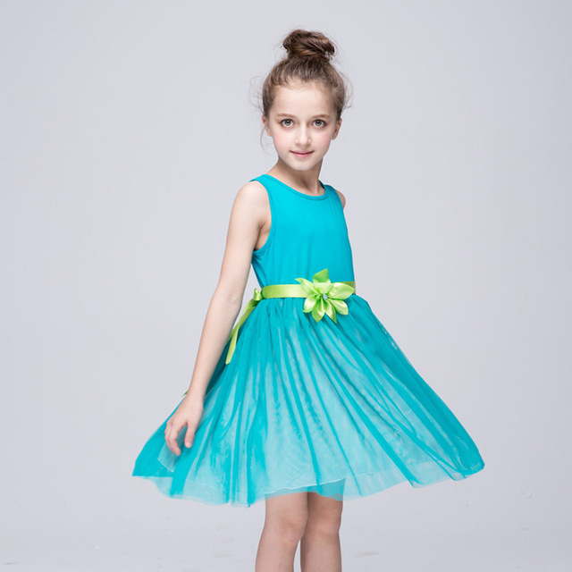 2016 New fashion casual Green Dress for Girl Princess Party dress ...