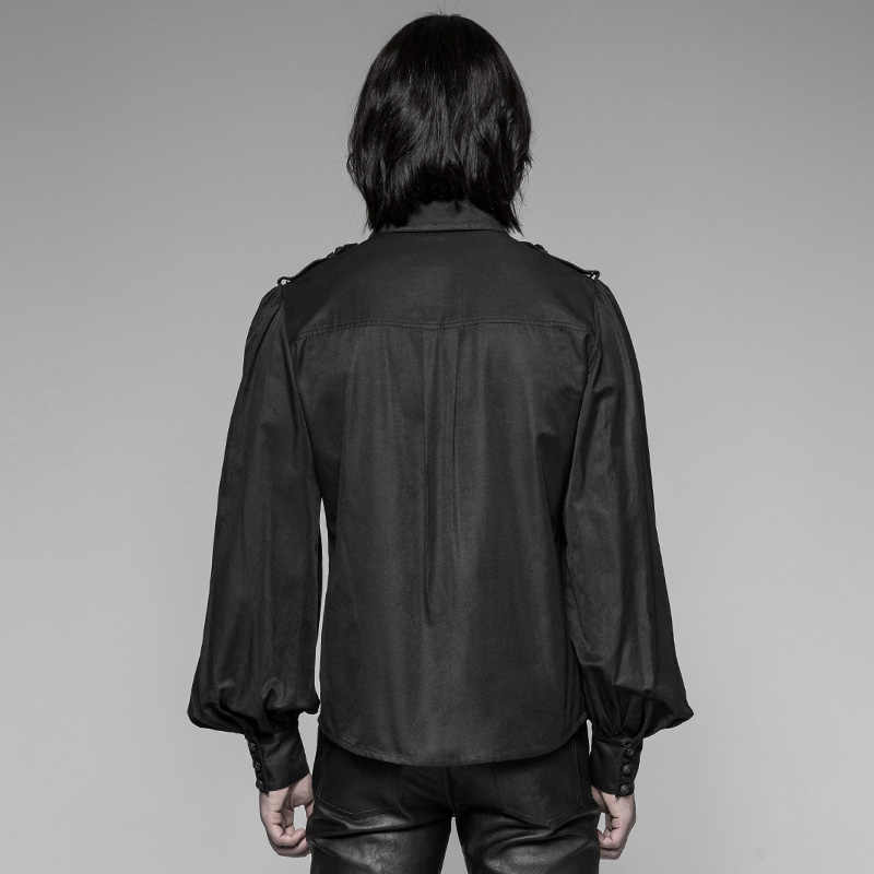 PUNK RAVE Mannen Gothic Vintage Shirt Steampunk Uniform Retro Blouse Mode Mannen Lantaarn Lange Mouw Blouse Shirt
