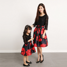Mother Daughter Dresses Matching Mama Kids Child Parent Clot