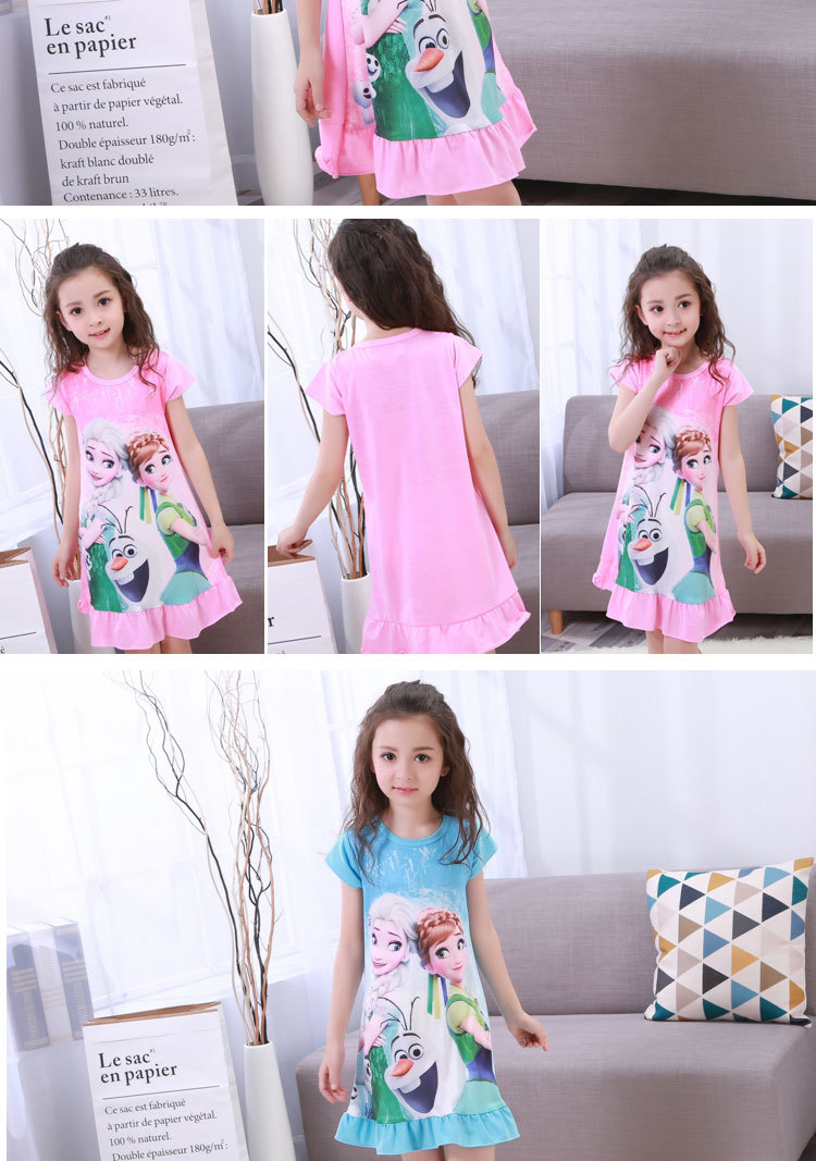 New Listing 19 Children pajamas Summer Dresses Girls Baby Pajamas Cotton Princess girl Nightgown Home Cltohing Girl Sleepwear 8