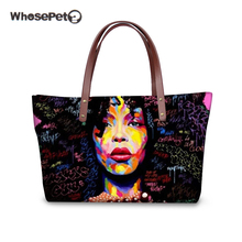 WHOSEPET African Girls Afro Art Purses and Handbags ladies large messenger bag womens big shoulder female tote zipper
