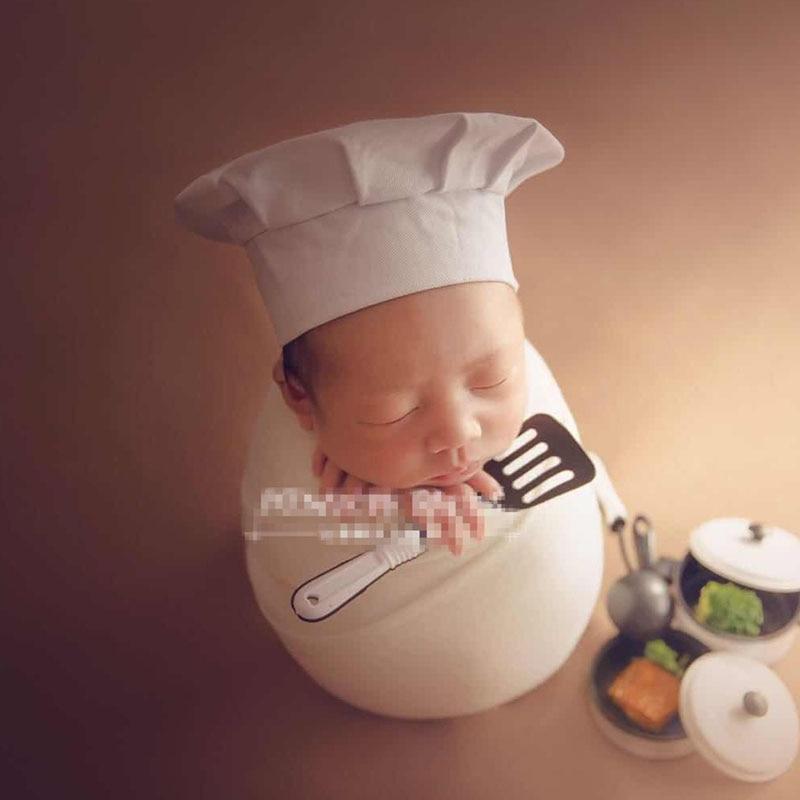 Newborn Chef Hat Photography Props Unisex Baby Photo Shoot