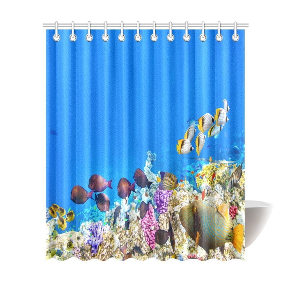 Aplysia Wonderful Ocean Shower Curtain Underwater World With Coral Reefs And Fish Schools Nature Fabric Bath Curtains