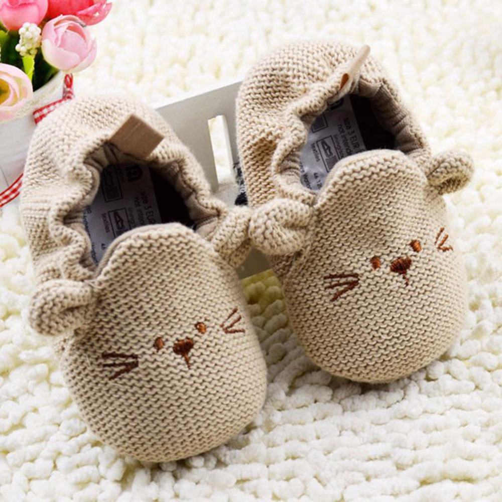 0-18M Infant Toddler  Newborn Boy Girl Knitted Crib Shoes Baby Soft Sole Cartoon Elastic First Walkers