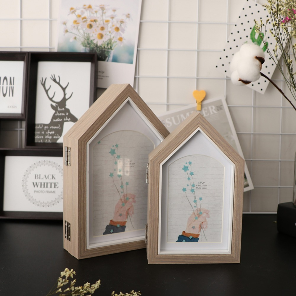 Rooftop Wooden Photo Frame 3 In 1 Opening Hinged Triple Picture