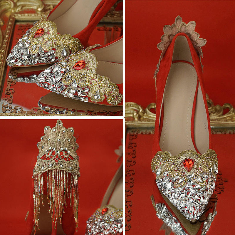 Wedding Shoes Red Color Chinese National Palace Tetro Style Rhinestone Tassel Gold Lace Flower Whole Sale