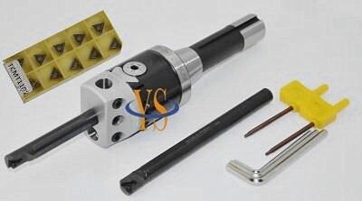 New R8 7/16 Boring head F1 -12 50mm & 2pcs Borng bar STFCR12 12mm &10pcs carbide inserts Mill