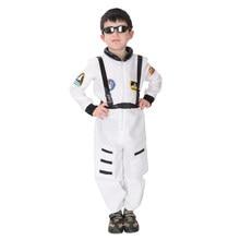 цена Kids Child White Cosmonaut Astronaut Costumes for Boys Pilot Spaceman Costume Uniform Halloween Purim Carnival Party Jumpsuit