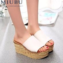 MIUBU New Summer Fish Head Sandals Thick Soles Waterproof Wedge Casual Flip Flops Free Shipping