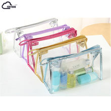 ISKYBOB New Clear Transparent Plastic PVC Travel Makeup Cosmetic Toiletry Zip Bag Pouch(China)