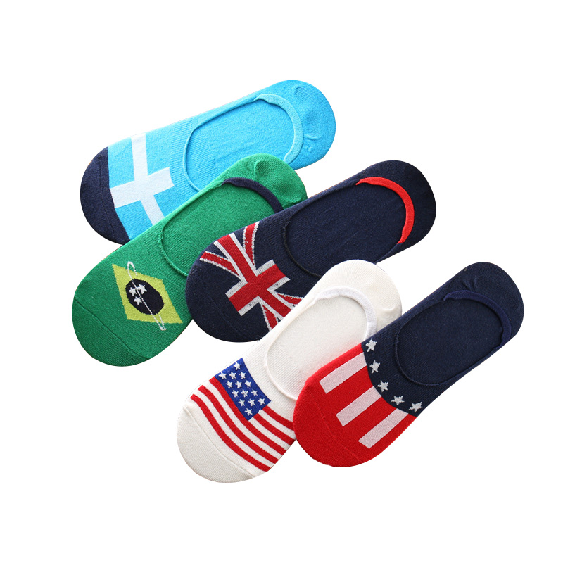 5 Pairs/lot Mens   Socks   Summer Spring Invisible Boat   Sock   Non-slip Silica Gel Male Fashion Cotton Stripe Colorful Flag Art   Socks