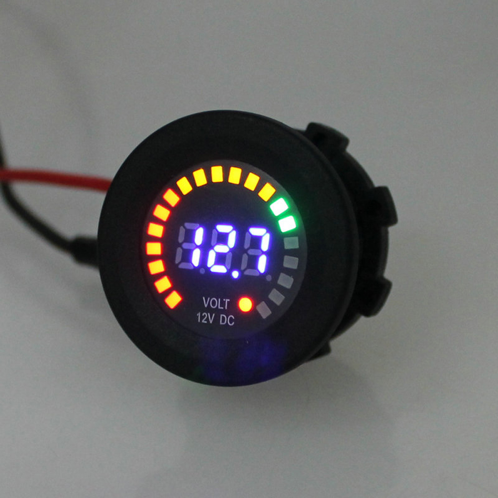 12V LED Digital Car Motorcycle Voltmeter Socket Universal Auto Voltmeter LED Display Volt Voltage Meter Gauge High Quality 3 in 1 multifunctional car digital voltmeter usb car charger led battery dc voltmeter thermometer temperature meter sensor