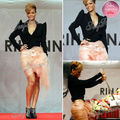 Rihanna Red Carpet Dress Sexy V-neck Long Sleeves Sheath Mini Short Satin Evening Celebrity Dresses