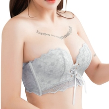 Drawstring Push Up Bra For Women Sexy Lace Floral Padded Underwear Intimates Seamless Back Closure