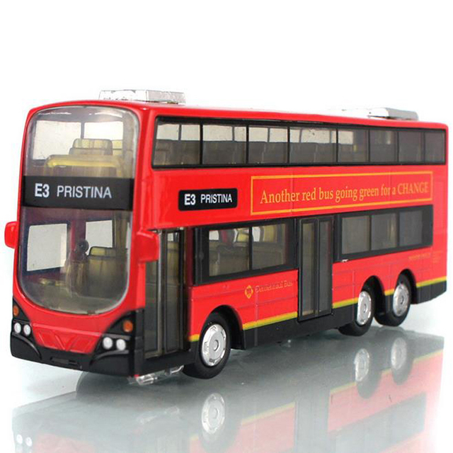 Mini Alloy Bus Toy 1:43 Scale Double-decker Bus Model Pull Back with Flashing Can Open Door for Children
