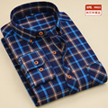 Free Shipping Men 2017 Brand flannel Shirts/Long Sleeve Thickening Plaid Shirts Casual Slim Fit dress camisa social non-iron 4xl