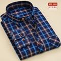 O Envio gratuito de 2017 Homens Marca Camisas de flanela/Espessamento Xadrez de Manga Comprida Camisas Casual Slim Fit vestido camisa social não-ferro 4xl