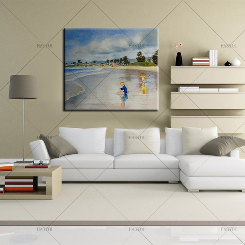 Large Handpainted Landscape Oil Painting On Canvas child on beach sea sky Palette Wall Picture For Home Decoration Wall Decor
