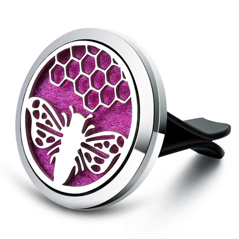 Sweet Little Bee Model Car Perfume Air Freshener Diffuser metal Stainless Vent Freshener Essential Oil Diffuse Pendant jewelry