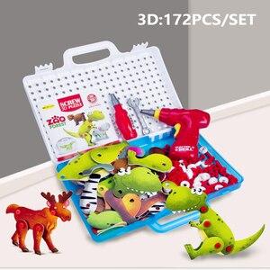 Image 4 - Jongen Nieuwe Kinderen Tool Speelgoed Elektrische Boor Schroeven 3D Puzzel Educatief voor Pretend Play Games Assembleren Dieren Blok Model Speelgoed