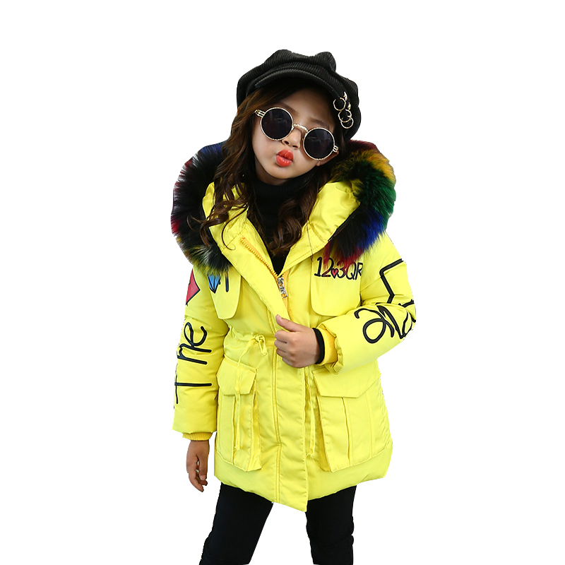 Rlyaeiz 2018 Winter Jackets For Girls Large Fur Collar Fashion Love Printed Girls Parka Coats Thick Warm Girl's Mid-long Outwear winter men jacket new brand high quality candy color warmth mens jackets and coats thick parka men outwear xxxl