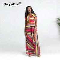 GuyuEra New Arrival African Women's Print Dress Round Neck Strapless Short Sleeve High Waist Loose Skirt Plus size L XL