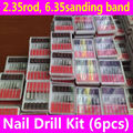 6pcs Nail Drill Bits Kit for Professional Electric Filing Machine Pedicure Manicure Tools 2.35 rod 6.35mm sanding band file set
