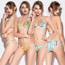 Hot Sale Print Stretch Mesh Fabric 2016 Bandage strappy Sexy Lingerie String Bikini Women Beach Plus Size Swimwear Bathing Suit