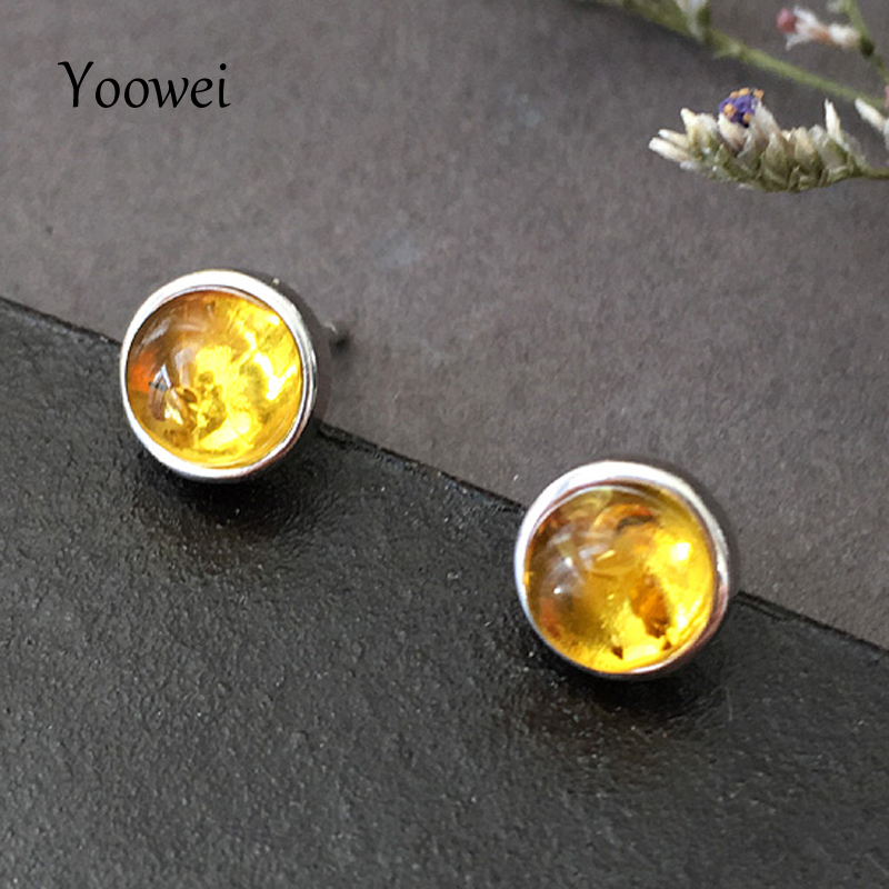 Yoowei Natural Amber Earrings for Women Girl Round Shape 5.8mm Chic Stud Earrings OL Style Golden Baltic Amber Jewelry Wholesale chic ellipse shape faux gem flower earrings for women