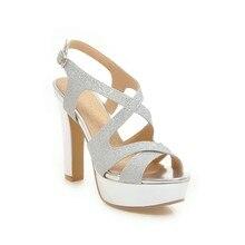 A ESTRENAR verano elegante negro plata mujer Sandalias de oro súper tacones  altos señora vestido zapatos EH523 más tamaño grande. 31a71ee86c64