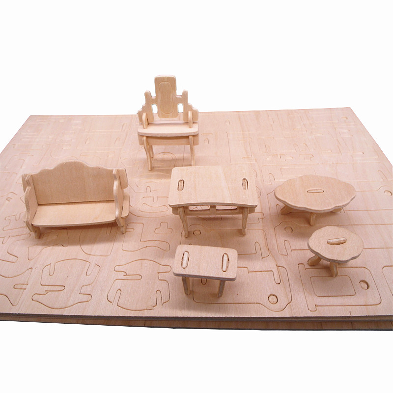 34pcs/set 1:24 Dollhouse Mini Furnitures Children's Educational Wooden Doll Furniture Toy,3d Woodcraft Puzzle Model Kit Toy