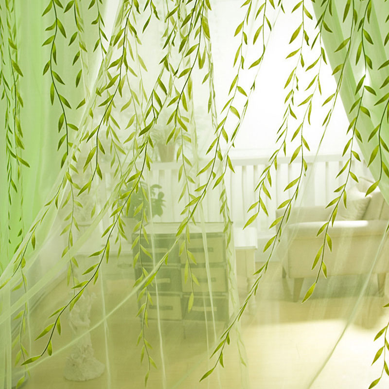 Pastoral green curtains tulle Transparent Willow Pattern Sheer Tulle Decor decorations for curtains Bedroom Kitchen WP216B