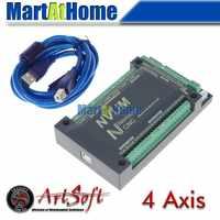 NVUM4 V2 CNC 200 KHz 4 axes USB Mach3 carte de contrôle de mouvement contrôleur de carte d'interface de rupture # SM752 @ CF