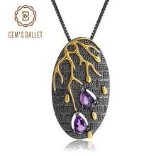 GEMS BALLET 925 argent Sterling Original fait à la main pétale fleur pendentif collier 0.39Ct améthyste naturelle Fine bijoux pour les femmes