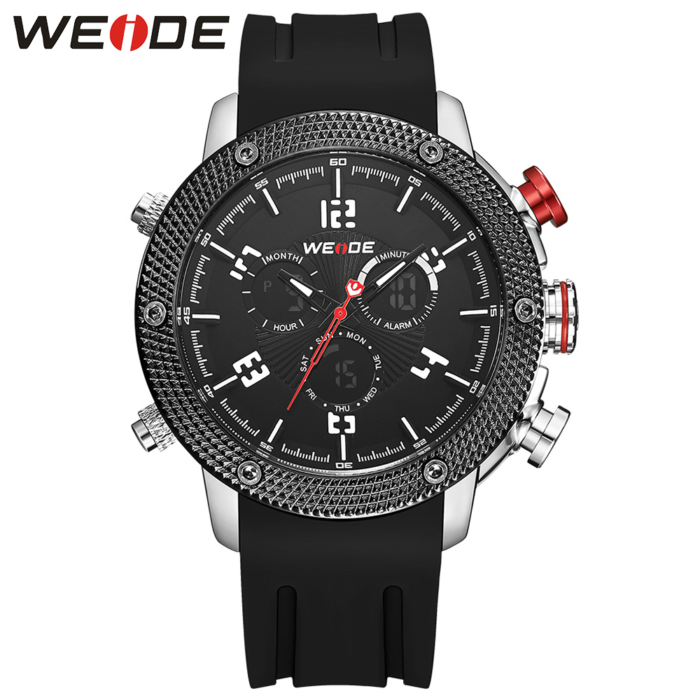WEIDE Men Black Dail Band Buckle Dual Time Zone LCD Display Repeater Back Light Japan Quartz Date Day Alarm Clock Digital Watch weide casual luxury genuin new watch men quartz digital date alarm waterproof clock relojes double display multiple time zone