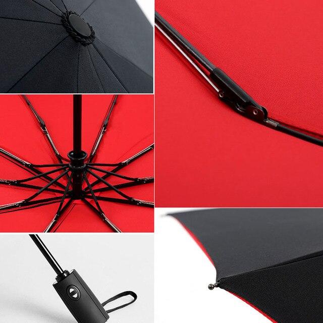 Autom tica cheia Oversize Refor ado Umbrella Tr s Folding Parasol Umbrella Chuva Mulheres Prova de
